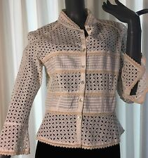 WHITE EYELET AND IVORY TRIM IRIDESCENT BUTTON BLOUSE BY INTUITIONS SIZE 12