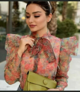 ZARA-FLORAL-ORGANZA-PUFF-SHOULDER-BOW-BLOUSE-TOP-SIZE-S-REF-7847-100