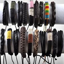 10pcs Mens Surfer Cuff Wholesale Lots Ethnic Tribal Genuine Leather Bracelet Hot