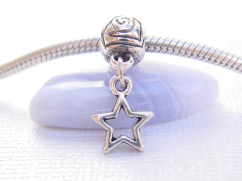 Cute Mini Silver Tone Hollow Star Slider Clip on Dangle Charm fits Euro Bracelet