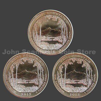 2013-P D S  BU Mint State US National Park Quarter White Mountain 3 Coins