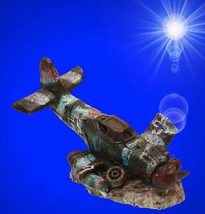 Aquarium-Deko-kleines-FLUGZEUG-WRACK-Kampfflieger-Dekoration-Zubehoer-FR