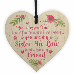 Image Is Loading Sister In Law Gift Wooden Heart Chic Plaque