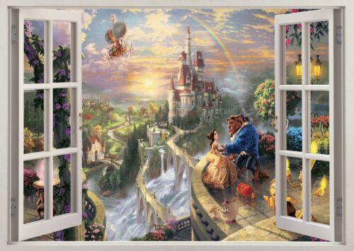 Princesse fées château de beauté 3D Autocollant Mural Art Poster Autocollants Murales Chambre Z69