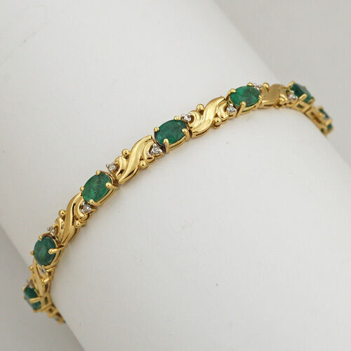 Fancy Style Solid 14k Yellow gold Genuine Diamond Emerald Tennis Bracelet 7 1 8