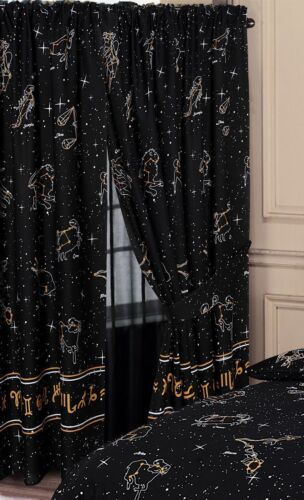"""Astrology Starsigns Zodiac Horoscopes Black 66/""""x72/"""" Ready Made Unlined Curtains"""