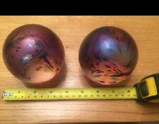 Pair John Ditchfield Glass Glasform Iridescent Sphere/Round Paperweights PW100