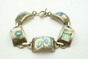 Vintage-Sterling-Silver-925-Mexico-Abalone-Toggle-Clasp-Link-Bracelet-7-25-034