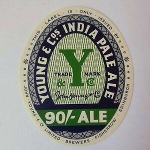 Vintage-Beer-Label-Young-amp-Co-Edinburgh-Scotland-Ale-Green-New-Old-Stock-3-034