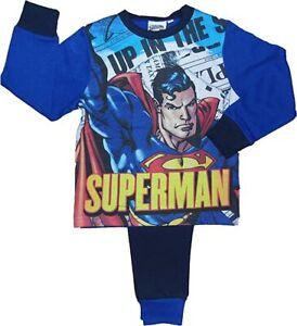 Garcons-Superman-Pyjamas-Nightwear-Long-Revers-Pyjama-Set-Superheros-Cadeau