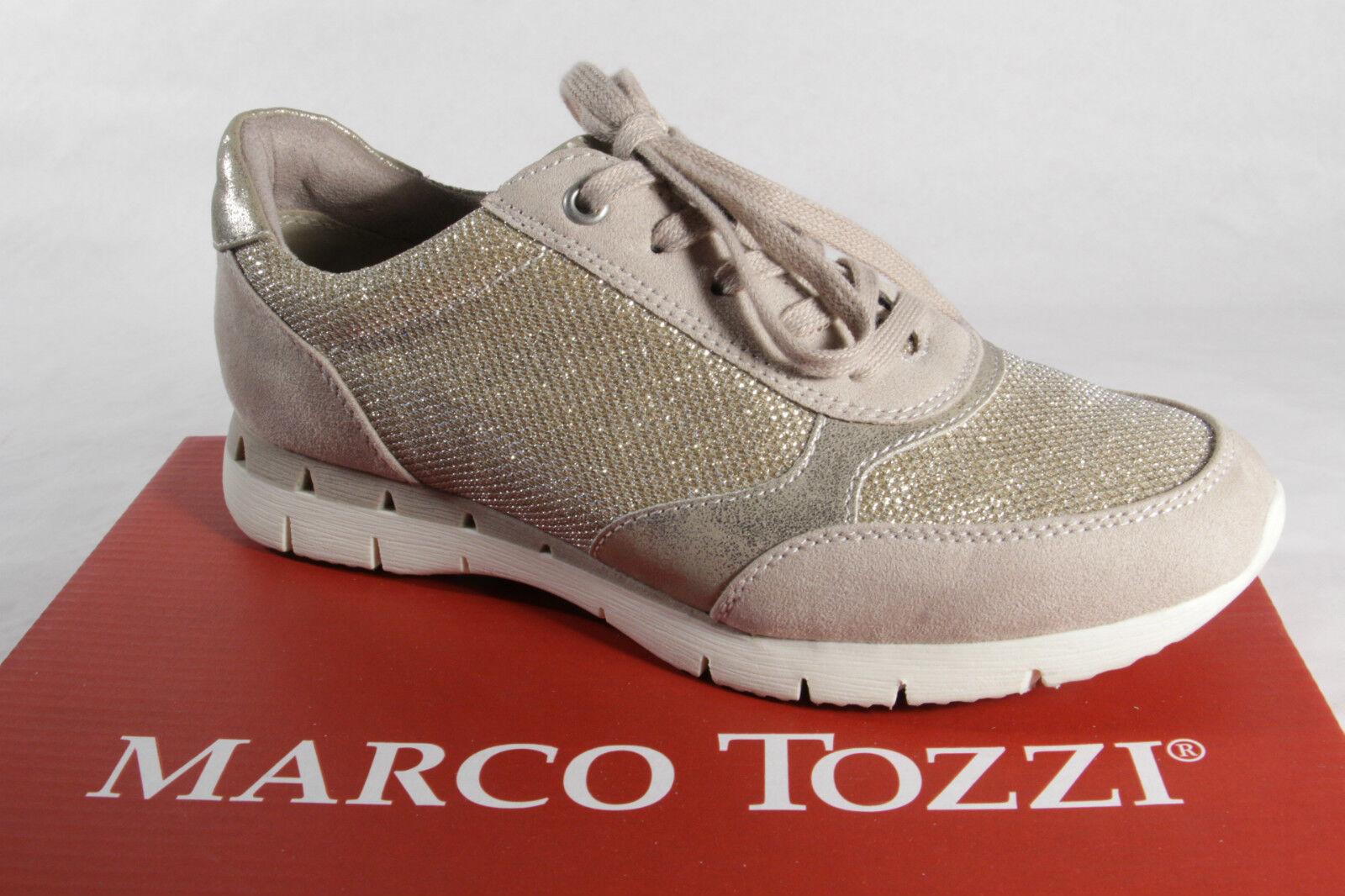 Descuento de la marca Descuento por tiempo limitado Marco Tozzi Zapatos De Cordones Zapatilla de deporte bajas beis NUEVO