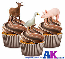 Farm Animals Goat Pig Duck Birthday Party 12 CupCake Toppers Edible Decorations