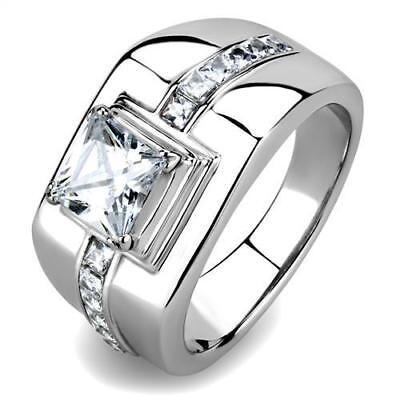 Men's 2.75ct AAA Grade Cubic Zircon CZ Accented Stainless Steel Ring 8-13 TK3011