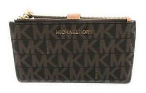 Michael Kors Jet Set Travel Double Zip Wristlet - L, Brown/Acorn (35F7GTVW9B-847)