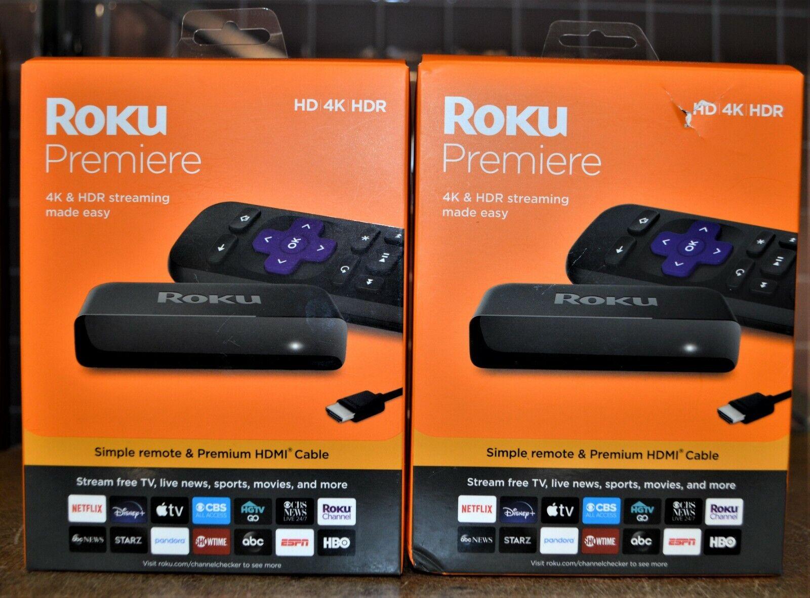 SET of 2 - Roku Premiere HD/4K/HDR Streaming Media Player #3920R - NEW media new player premiere roku set streaming