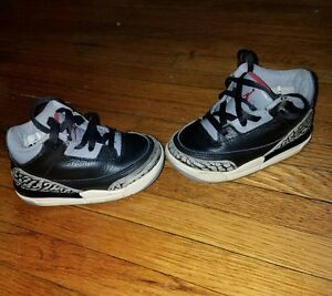 huge selection of 1e0ed 9b3f0 Details about nike air jordan 3 retro toddler shoes black,red and cement  gray size 6.5C