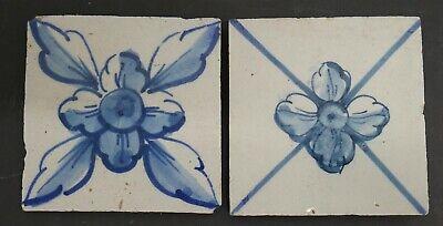 Antique Portuguese Floral Tiles Lot of  2 Pombalin Portugal