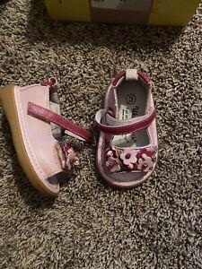 Wee-Squeak-Sandals-Katia-Size-3-Pink-Flowers-Baby-Girl