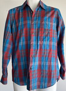 Levi-s-Men-s-Vintage-Colorgraphs-Long-Sleeve-Button-Up-Size-Small-Plaid-Blue-Red