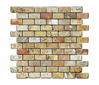 Scabos 1 X 2 Tumbled Travertine Brick Mosaic Tile