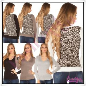 Womens-Jumper-Sweater-Ladies-Casual-V-Neck-Leopard-Pullover-One-Size-6-12-UK