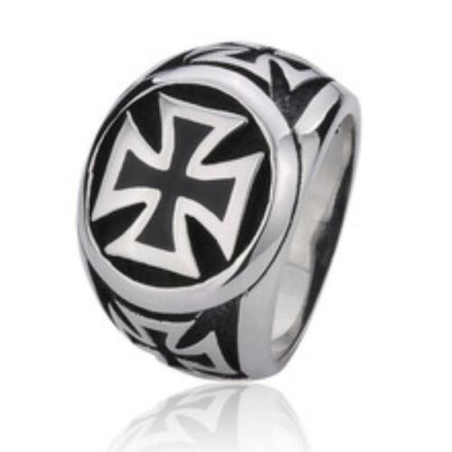 Anello in acciaio inox Cavalieri Anello con Sigillo Croce Di Ferro EK IRON CROSS Rocker Biker