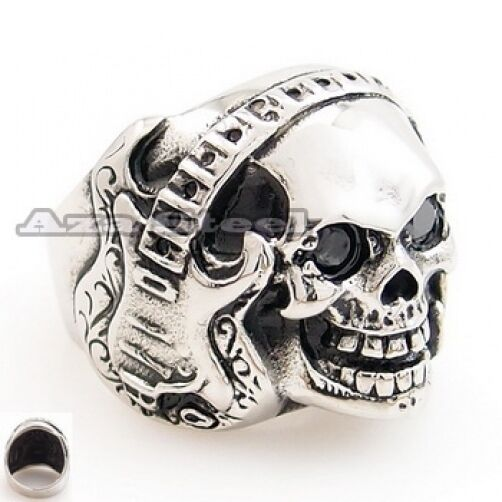 Men's Rock Music Guitar CZ Skull 316L Stainless Steel Biker Ring US Size 8~14