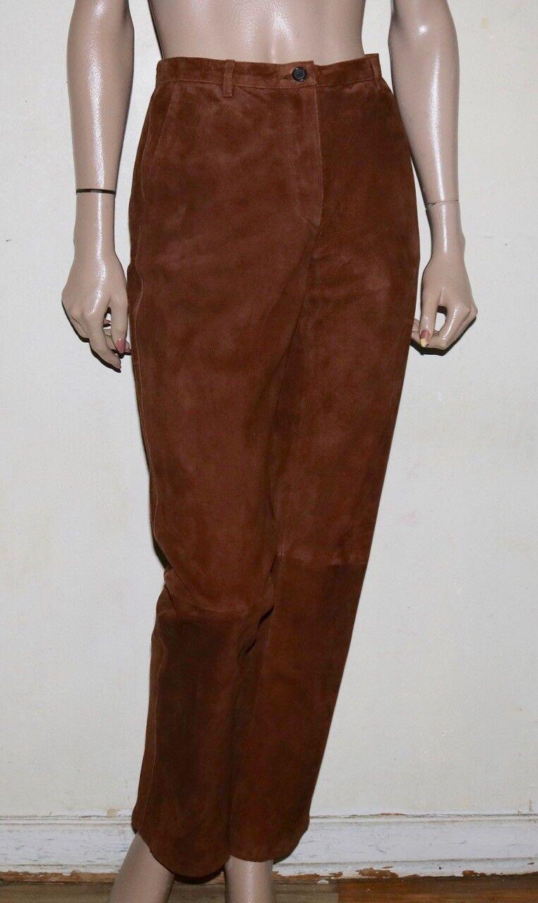 Prada brown suede trouser pants 42  8 pre-owned