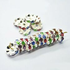 100Pcs Quality Crystal WAVY Rhinestone SILVER PLATED Rondelle Spacer BEADS 8mm