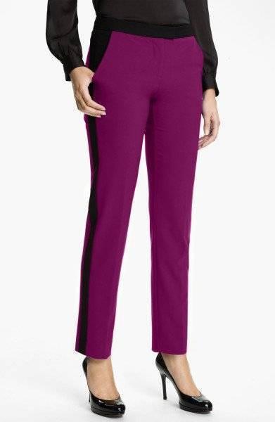 Vince Camuto Sweet Plum Purple Color-block Women Pants  Size 10 NWT