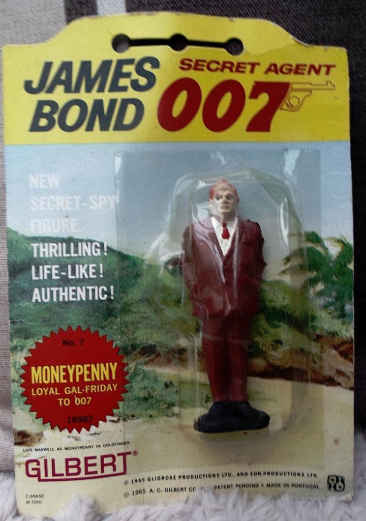 James Bond vintage 1965 Gilbert Figure cardate RARO ERRORE DI FABBRICA oroFINGER
