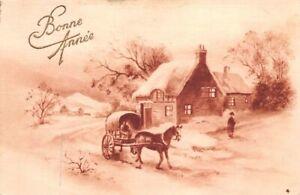 CPA-Fantaisie-Bonne-Annee-Caleche-et-cheval-dans-un-paysage-de-neige