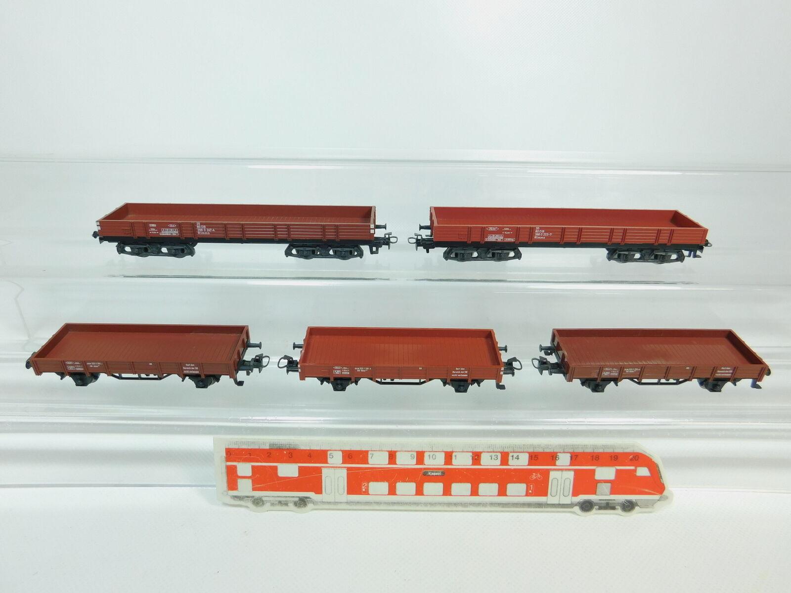 BP615-0,5x Märklin H0 AC Niederbordwagen Güterwagen DB  Rlmms + Kklm 505