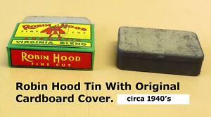 Tobacco-Tin-Robin-Hood-Fine-Cut-Circa-1940-039-s-Awesome