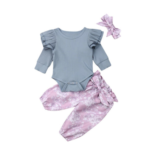 UK Newborn Toddler Kids Baby Girl Floral Tops Pants Outfits Set Autumn Clothes