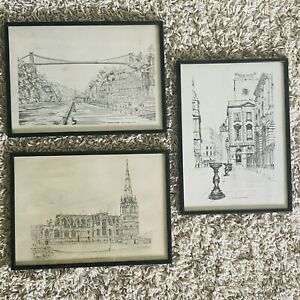 Bristol ~ Set of 3 Framed 1970s Prints ~ Corn Street, Clifton Suspension Bridge