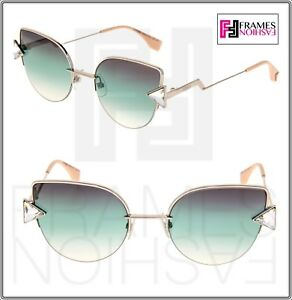 f7c16f9815cc FENDI RAINBOW FF0242S Silver Blue Green Gradient Cat Eye Sunglasses ...