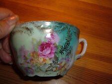 Vintage Victorian pink rose teal blue Moustache Mustache cup & saucer Free ship