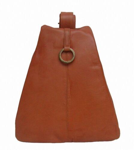 eleganter 3 Stadtrucksack Damen Cognac Sportlich Leder Separate Fächer CwPdqW1