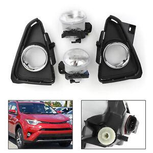 2X-Front-Bumper-Fog-Lights-Lamp-Wires-Switch-For-2016-2018-Toyota-RAV4-Rav4