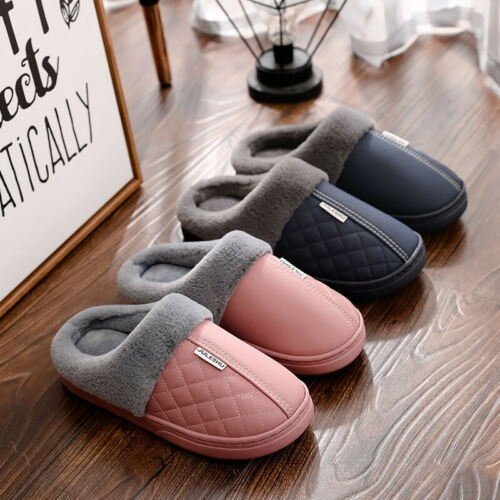Men Winter Warm Fuzzy House Slippers Foams Lined Sewing Thread Non-slip Home
