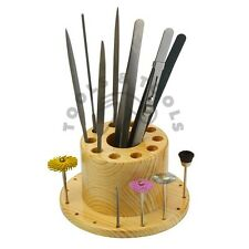 27 Holes Wooden Bur Files Saw Blades Tweezers Organizer Bench Top Hard Wood Tool