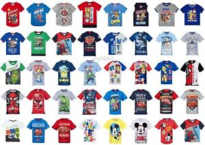 Boys-Kids-Characters-Short-Sleeve-Tee-T-Shirt-Top-age-2-12-years-Paw-Patrol-Cars