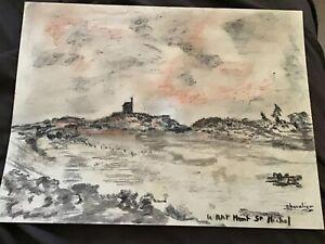 Zeichnung-Mine-Blei-Le-Petit-Berg-St-Michel-Unterzeichnet-Ritter