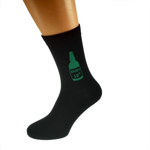 Happy 50th in BEER BOTTLE Printed in Green on Mens Black Socks 50th Birthday