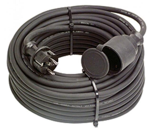 AS Schwabe Gummi Verlängerungsleitung 5m 1.5mm² Elektro Kabel Verlängerung NEU