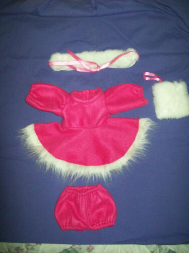 "16"" CPK Cabbage Patch Kids BRITE PINK WINTER OUTFIT SKATING DRESS PANTY MUFF+CAP"