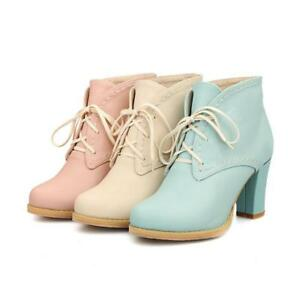 f485840eb93 Autumn Womens Lolita Lace Up Block High Heels Platform Ankle Boots ...