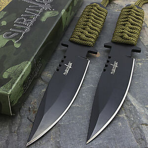 2-x-7-5-034-TACTICAL-COMBAT-HUNTING-BOWIE-KNIFE-Military-Dagger-Survival-Blade