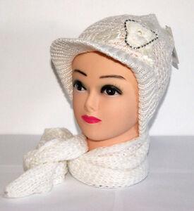 Détails Sur Ensemble Casquette Bonnet Fantaisie Fleur écharpe Femme Blanc Taille Unique